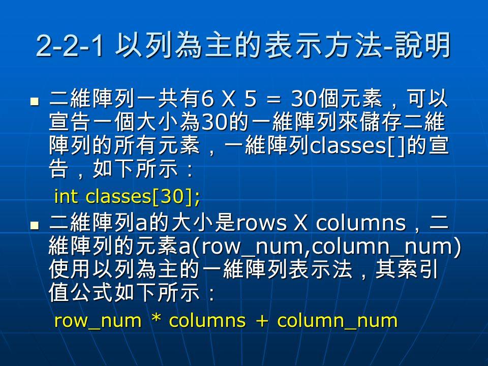 2-2-1 以列為主的表示方法-說明 二維陣列一共有6 X 5 = 30個元素,可以宣告一個大小為30的一維陣列來儲存二維陣列的所有元素,一維陣列classes[]的宣告,如下所示: int classes[30];